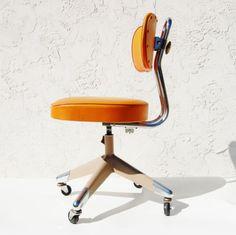 VINTAGE Industrial Machine Orange Office Industrial CHAIR EAMES ERA SEE!