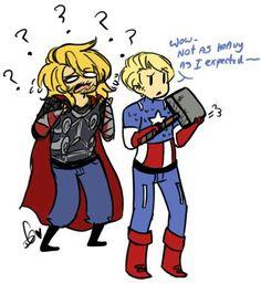 Marvel Comics: In the comic books, Steve actually is worthy to wield Mjolnir. Marvel Dc, Marvel Comics, Marvel Memes, Thors Hammer, It Goes On, Marvel Characters, Marvel Cinematic Universe, Marvel Avengers, Loki