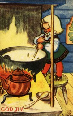 old Norwegian Christmas card - several of the cards showed soup, must be a traditional Norwegian dish. Simple Christmas, Christmas Cards, Christmas Postcards, Christmas Ideas, Norwegian Christmas, Troll, Norway, Scandinavian, Northern Lights