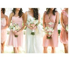 bride and bridesmaids holding flowers without showing their faces.