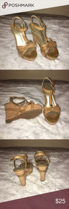 Guess wedges Cute Guess wedges size 7M... cork and leather..worn good condition Guess Shoes Wedges