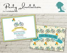 Balloon Bicycle Party Invitation $10AUD by The Digi Dame Printable Party Decor. Visit thedigidame.com to purchase!