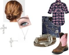 A fashion look from January 2013 featuring multicolor shirt, slim bootcut jeans and pink cowboy boots. Browse and shop related looks. Country Western Outfits, Country Style Outfits, Southern Outfits, Fair Outfits, Cute Outfits, Kinds Of Clothes, Clothes For Women, Show Cattle, Passion For Fashion