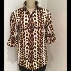 JUST CAVALLI BLOUSE GENTLY USED JUST CAVALLI LEOPARD PRINT BLOUSE.NO TRADE Just Cavalli Tops Blouses