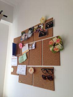 DIY Pin Board - multiple cork boards for beneath bookshelves.