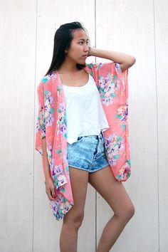 Floral Pink Blush Kimono