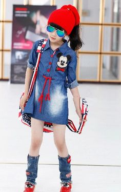 Buy Forever Kidz Blue Demin Style Fashion Dress online in India at best price. Denim stylewith contrasting red trendy dress for an ultra chic look. Girls Denim Shirt, Girls Denim Dress, Kids Outfits Girls, Little Girl Dresses, Girls Dresses, Demin Dress, Baby Girl Fashion, Kids Fashion, Style Fashion