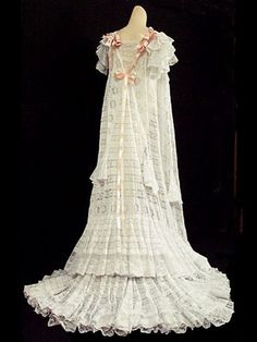 Hand-Embroidered Batiste Peignoir With Lace Inserts And Ribbon Trim   c.1900