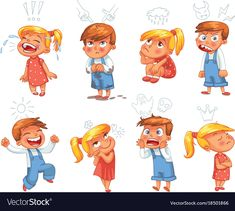 Basic emotions funny cartoon character vector image on VectorStock Funny Cartoon Characters, Cartoon Kids, Funny Cartoons, Vector Pop, Cat Vector, English Activities For Kids, International Children's Day, Scared To Love, School Icon