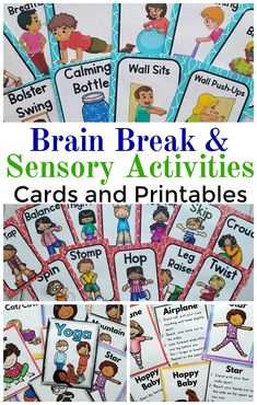 Brain breaks in the classroom. Sensory activities. Kids yoga poses. A great collection of brain breaks, sensory break cards, and yoga cards! These are great for a classroom, physical therapy, occupational therapy, physical education, and home!