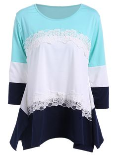 3/4 Sleeve Color Block T Shirt