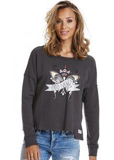 Sweatshirt mørkegrå print 217M-416 Lounging Around Sweater - asphalt