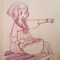 Daily doodle #miniludvin #doodle #sketch #girl #ink #traditionaldress #cute