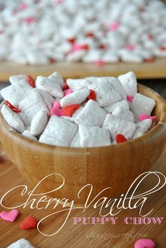 Cherry Vanilla Puppy Chow- easy, delicious puppy chow with cherry gelatin.  A use for the rest of the cherry Jell-o called for in the other recipe I just posted.  I try to stick to healthy pins and then everybody gets Valentine's fever and posts sweet things that look good.