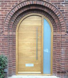 Contemporary Front Doors, oak iroko and other woods, Bespoke Doors Arched Front Door, Oak Front Door, Front Door Porch, Porch Doors, Arched Doors, House Front Door, Oak Doors, Garage Doors, Main Entrance Door