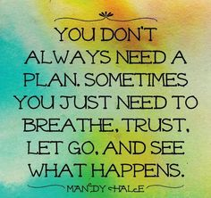 You don't always need a plan. Sometimes you just need to BREATHE, TRUST, Let go and see what happens. ~ Mandy Hale ~