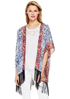 TWO by Vince Camuto Mixed Print Fringe Kimono