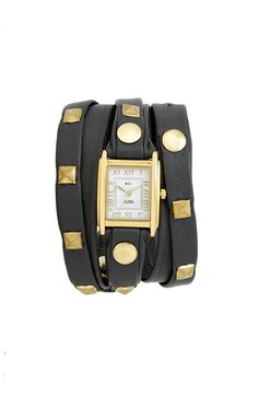 La Mer Gold Studded Leather Wrap Watch