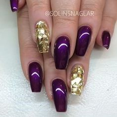 Lovely Nail Designs - Purple and gold coffin nails. Gold Coffin Nails, Gold Nail Art, Gold Art, Fabulous Nails, Gorgeous Nails, Fancy Nails, Trendy Nails, Acrylic Nail Designs, Nail Art Designs