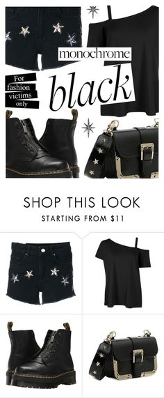 """""""For Fashion Victims Only"""" by yummymummystyle ❤ liked on Polyvore featuring Zoe Karssen, Dr. Martens, RED Valentino, Federica Tosi, allblack, monocrome and styleicons"""