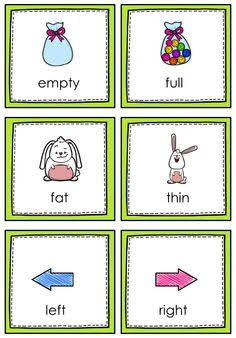 Image result for free printable opposites flashcards