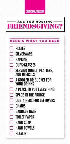 FRIENDSGIVING CHECKLIST: Be prepared to earn your title as the best hostess EVER with this Friendsgiving checklist. Spend your time enjoying the turkey and wine with your besties rather than stressing over having enough food and getting everything done in time! Pin this checklist and then use it while grocery shopping and stocking up on everything you'll need!