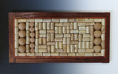 """Mosaic (Wine Corks):  """"Corked""""  (Wine Corks, Tequila Corks, Wooden Frame - designed and created by Karen J Lauseng)."""