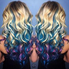 Mermaid hair Rainbow hair Unicorn hair color by Samantha Daly Unicorn Hair Color, Ombre Hair Color, Cool Hair Color, Purple Hair, Mermaid Hair Colors, Pravana Hair Color, Funky Hairstyles, Pretty Hairstyles, Rainbow Hairstyles
