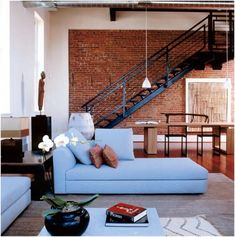 The Decorista-Domestic Bliss: NYC apartment decor style: bits of brick. Red Brick Walls, Exposed Brick Walls, Exposed Brick Apartment, White Walls, Loft Staircase, Iron Staircase, Loft Stil, Brick Interior, Interior Design