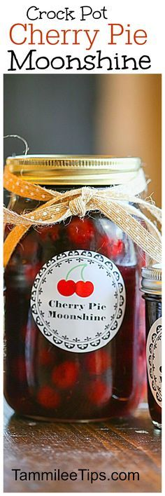 super easy crock pot homemade cherry pie moonshine recipe you will love! store in mason jars these make a great DIY Gift! Cherries and everclear make this a great cocktail mixer! (dessert in a jar crock pot) Party Drinks, Cocktail Drinks, Fun Drinks, Alcoholic Drinks, Cocktail Recipes, Drink Recipes, Liquor Drinks, Bourbon Drinks, Vodka Drinks