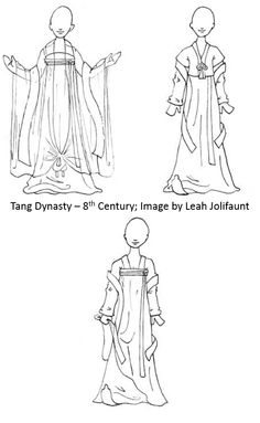 8th Century Tang Dynasty Costume Sketch for playing with color combinations - includes ruqun, hezi, banbi, pizi, and pibo. Skirt is layered as depicted in Zhou Fang paintings.