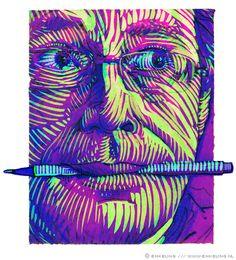 Self Portrait, pen, mixed media, Enkeling, 2009