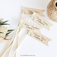 """Succulent DIY Escort Card Flags - 1 x 3"""" Flags - Text Editable Template, Wedding Favor Flags, INSTANT Digital Download, Thank You Tag"""