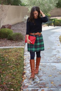 Checkered skirt.  Such an adorable outfit