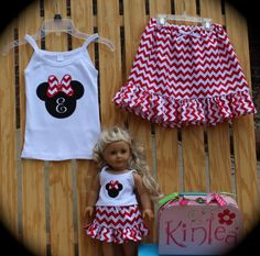 Girl's Boutique Appliqued Mouse Head on Baby Rib Spaghetti Top with Riley Blake Small Red Chevron with Matching Doll..Fits AMERICAN GIRLS.. on Etsy, $48.50