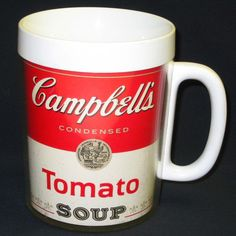 Vintage Campbell's Tomato Soup Graphics Thermo-Serve Mug By West Bend #Campbells