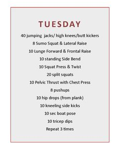 Tuesday workout routine
