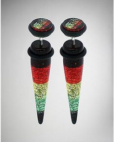 Rasta Glitter Fake Taper Set - Get regal and reggae in the Rasta Glitter Fake Taper Set. Fake Piercing, Piercings, Body Jewelry, Glitter, Tableware, Accessories, Rings, Peircings, Piercing