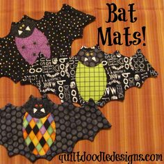 Going Batty Bat Mug Mats for Halloween PDF pattern by quiltdoodledesigns on Etsy… Halloween Quilts, Halloween Quilt Patterns, Halloween Sewing Projects, Halloween Crafts, Sewing Crafts, Halloween Placemats, Halloween Applique, Halloween Signs, Halloween Makeup