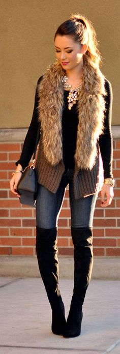 Chic In The City- Brown Knitted Faux Fur Collar Cardi by Hapa Time~ LadyLuxury