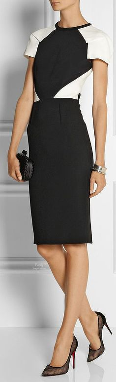 Roland Mouret http://www.net-a-porter.com/product/451336/Roland_Mouret/timarcha-paneled-crepe-and-cloque-dress