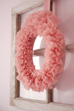 DIY Ruffle wreath. Pretty!