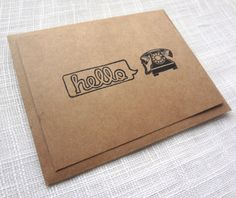 HELLO Rotary Phone Kraft Brown Note Card Set 8ct by MelmacMaven