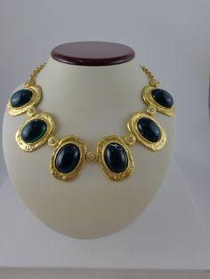"NWT Kenneth Jay Lane, KJL Satin Gold 6 Emerald Oval Glass Collar Necklace 20"" #KennethJayLane #Collar"