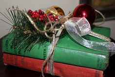 Easy book Decor http://bec4-beyondthepicketfence.blogspot.com/2011/11/on-third-day-of-christmas.html
