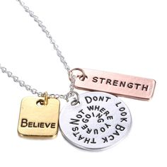 Three 'Believe Strength 'Pendant Inspirational Letter Chain Necklace Jewelry