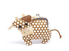 Little chocolate brown cow clutch purse