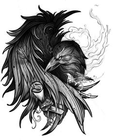 Tribal Sleeve Tattoos, Skull Tattoos, Body Art Tattoos, Fox Tattoos, Tree Tattoos, Geometric Tattoos, Hand Tattoos, Crow Art, Raven Art