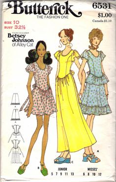 05bfe8112 Vintage 1970's Butterick 6531 Betsy Johnson of by Recycledelic1 Dress  Sewing Patterns, Vintage Sewing Patterns