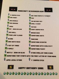Minecraft Birthday Party Scavenger Hunt
